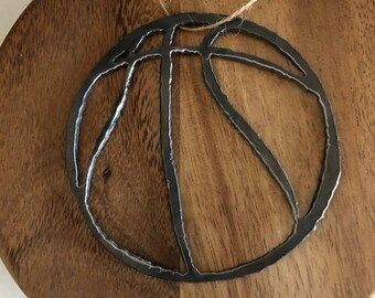 Rustic Handmade Steel Basketball Ornament Team Sports B Ball