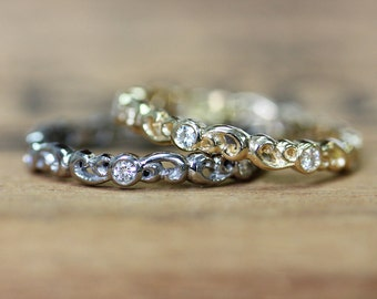 Moissanite eternity band, gold eternity ring, solid gold wedding band 14k gold stacking rings forever brilliant diamond eternity band size 8