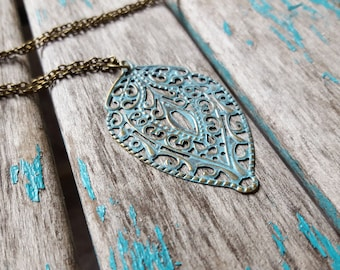 "Pale Teal Patina Necklace- Rustic Pendant on a 31"" chain"