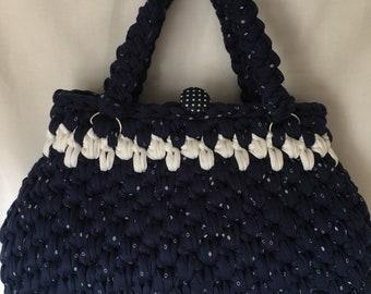 Navy and White Dotty Handbag