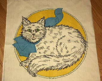 Vintage Embroidered Cat Pillow Case 1950s Embroidered Linen