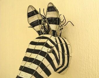 African Beaded Wire Animal Sculpture - ZEBRA TROPHY Head - Natural