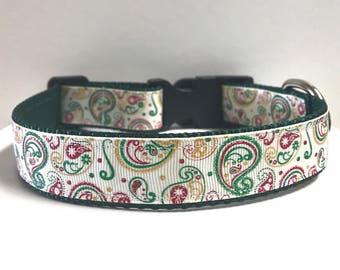 """1"""" Cream & Green Paisley collar"""