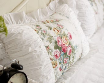 Pair of Chic Arts: Idyllic Cottage 100% Cotton Rose Floral Frills and Lace Pillow Shams, Pillow Cases, Decorative Shams