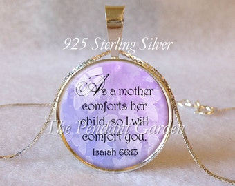 ISAIAH 66:13 STERLING SCRIPTURE Pendant Bible Scripture Jewelry Comfort Encouragement Hope Judaica Gift Christian Gift 925 Sterling Silver