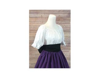 Blouse Only - Renaissance Civil War Victorian Southern Belle LARP Cosplay Pioneer - White Short Sleeve Peasant Top Shirt Blouse