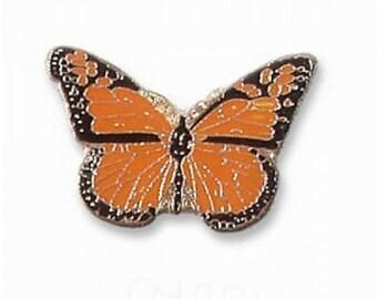 24 Karat Gold Plated Orange Monarch Butterfly Pin