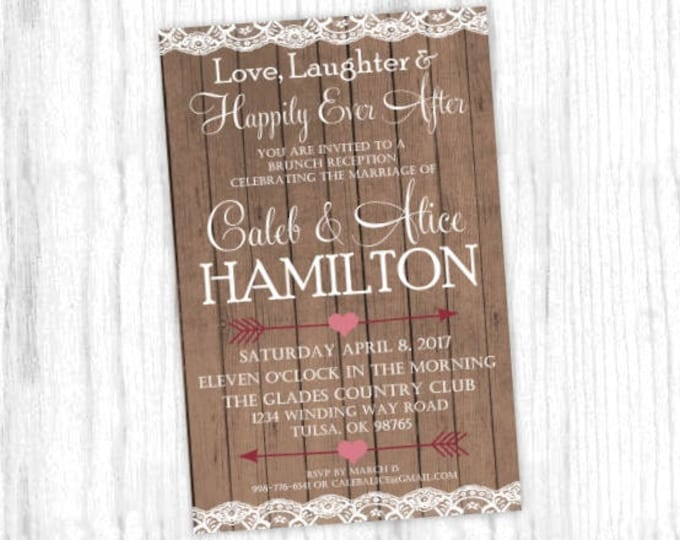 Printable Wedding Invitation, Barn Wood and Lace Wedding Shower Invite, Printable Shower Invite, CUSTOM Design, 4x6 or 5x7