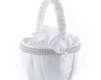 Rhinestone Elegance Wedding Flower Girl Basket White Satin