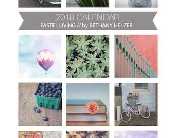 2018 Desk Calendar, Photo Calendar, Desk Calendar, Fine Art Photography, Pastel, Colorful, 5x7, 2018 Calendar, Loose Leaf Calendar, For Her