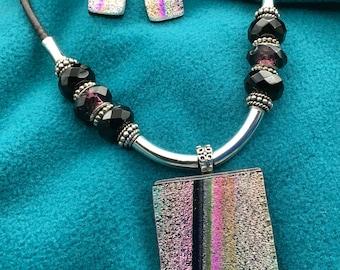 Purple Striped Dichroic Glass Jewelry Set
