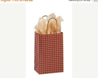 TAX SEASON Stock up 25 pack Red and Kraft Gingham Recycled 5.25 x 3.5 x 8.5 inch Paper Handle Bags