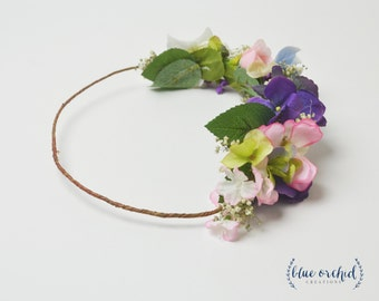 Flower Crown, Colorful Flower Crown, Multicolor Flower Crown, Artificial Flower Crown, Dried Baby's Breath, Boho Wedding Crown