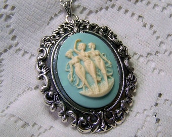 Three Graces Cameo Statement - Dancing Graces - Neoclassical - Greek Mythology - Three Muses - Pagan - Wiccan - Muses necklace, Renaissance