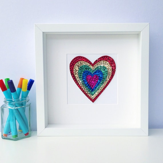Rainbow Nursery Decor New Baby Frame Rainbow Heart Picture