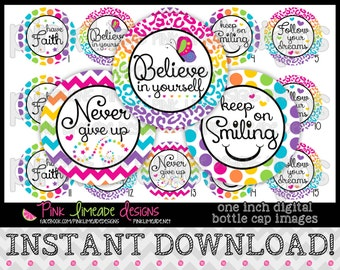 """Girly Inspiration - INSTANT DOWNLOAD 1"""" Bottle Cap Images 4x6 - 745"""
