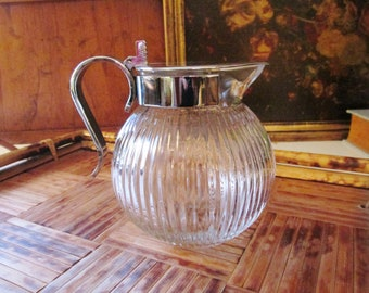 Chase USA Art Deco Syrup Pitcher, Sugar Pourer, Jubliee Glass and Chrome Pitcher, 1930's Deco Pitcher