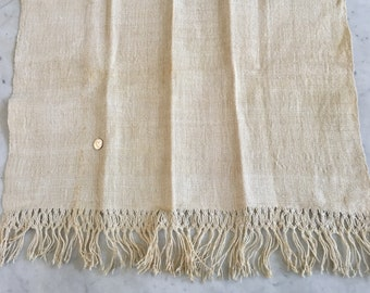 Vintage Antique Hand Woven French Fringed Linen Table Cloth Runner European