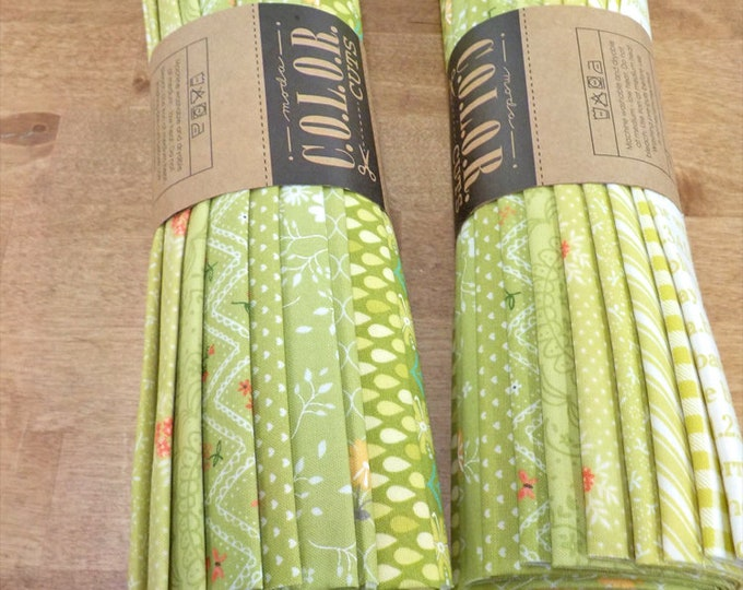 Color Cuts by Moda Fabrics...Sprouts bundle, 12 fat quarters, factory cut, green bundle