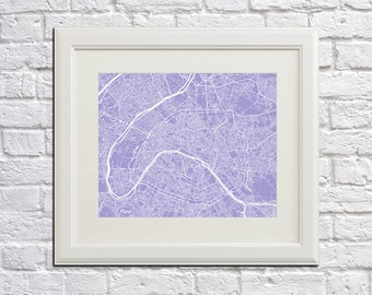 Paris Street Map Print Map of Paris City Street Map Paris Poster City Art Poster
