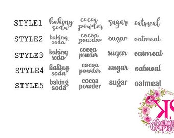 Kitchen labels, pantry labels, cannister labels, ingredient labels, decal sticker labels, kitchen stickers for jars
