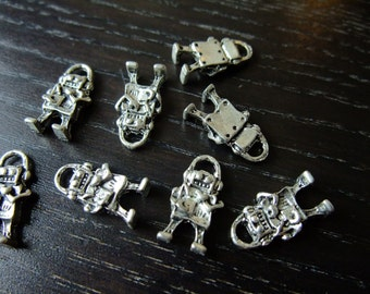 Destash (8) Cute Mini Robot Charm - for pendants, jewelry making, crafts, scrapbooking