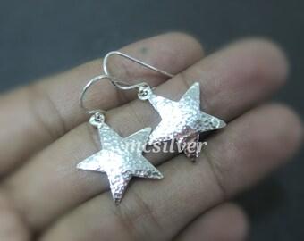 925 Sterling Silver Hammered Textured Star Earrings Dangle Earring Handmade