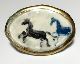 Unsigned Enamel Hand Painted Horses Scene Brooch Pin