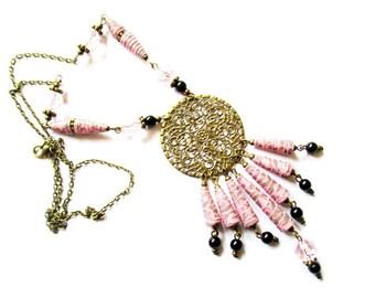 paper tube romantic Pearl pendant necklace baroque 70cm bronze metal R41
