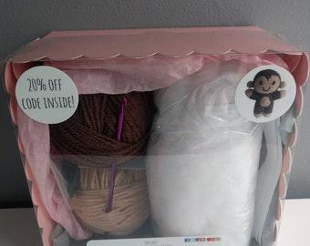 Bananas the Monkey Crochet Kit - learn to crochet, craft kit, diy, amigurumi animals, cute, crochet patterns, make an animal, crafting, zoo