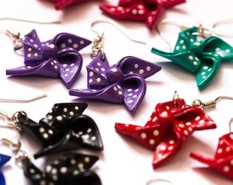 Cute Purple Shrink Plastic Pinwheel Earrings