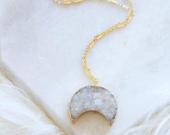 Druzy Moon, Crescent, Long Necklace