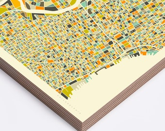 PHILADELPHIA MAP (Ready to Hang, Birch Wood Print for your Home Décor) ivory version