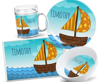 Kids Sailboat Tableware - Custom Plate Set - Personalized Kids Plate - Kids Bowl - Kids Placemat - Dinnerware for Kids - Party Decor