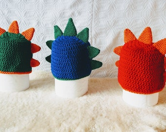 DRAKE crochet dragon hat - comes in Green, Red or Blue, with dragon spikes - birthday gift ideas for kids