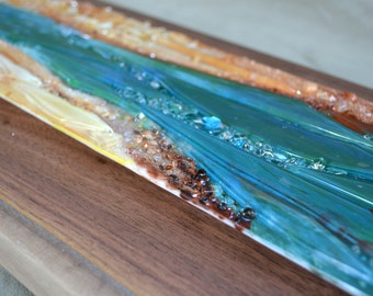 Renovatus I - Modern Fused Glass Wall Hanging Art with Enamels - Made to Order
