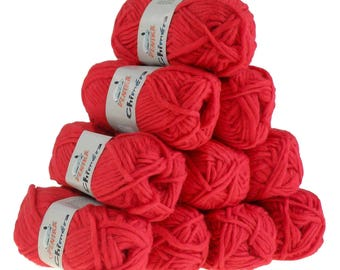 10 x 50g wool CHIMERA #440 red, wool for knitted felt