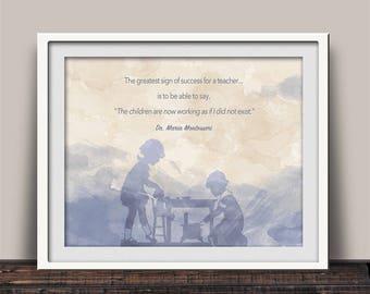 Montessori Quote, Teacher Success, Montessori Teacher, Montessori Gift, Maria Montessori, Giclee Print, Teacher Gift, School Gift, Grad Gift