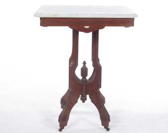 Victorian marble top side table end antique lamp parlor on casters period 19th c