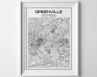 south carolina map, greenville map, south carolina print, south carolina gift, greenville poster, houswarming christmas, city map print