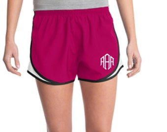 Pink Monogrammed Shorts, Personalized Running Shorts, Work Out Shorts, Gym Shorts, Monogrammed Running Shorts, Personalized Shorts