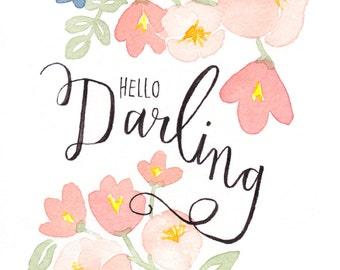 Hello Darling floral watercolor