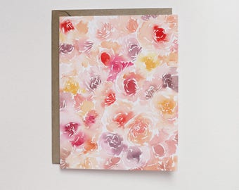 Watercolor Garden Roses A2 Greeting Card