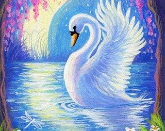white swan counted cross stitch pattern PDF