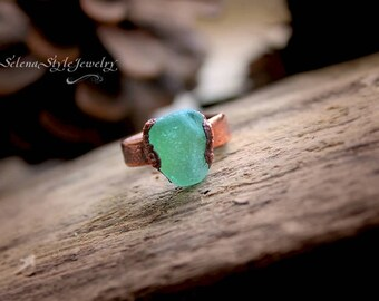 Copper Raw Ring Sea glass ring seaglass jewelry boho rustic hippie style opaque emerald glass natural recycle green bottle glass electroform