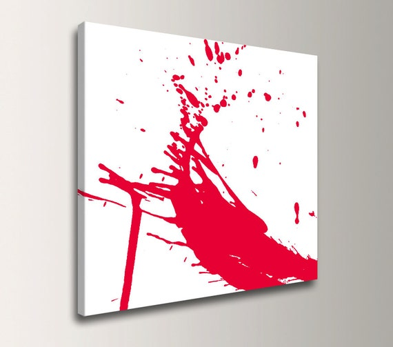 "Red and White Art - Canvas Print - Paint Splat - Abstract Wall Decor - ""Splash"""