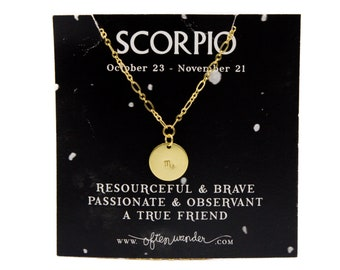 Astrological Necklace // Scorpio // OCT 23 - NOV 21 // Water Sign // Gifts for Her // Gifts for Him // Zodiac Sign // Horoscopes // Stamped