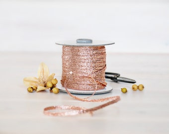 Braided Ribbon 1/8 Inch - From 3 to 109 Yards - Wedding Ribbon - Gold Rose Metallic Ribbon- Etsy Wedding - Gold Rose - Braided Ribbons