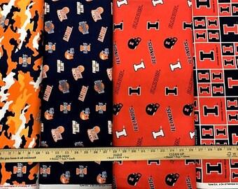 NCAA University of Illinois at Urbana–Champaign Blue & Orange College Logo Cotton Fabric! 4 Options [Choose Your Cut Size]