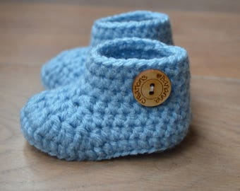 Crochet baby booties - shoes baby boy - new baby gift - Newborn shoes - Crochet baby shoes - gender reveal grandparents - Christmas present